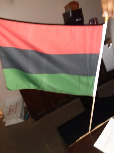 12x14 Red Black and Green Pan-African Flag with Stick